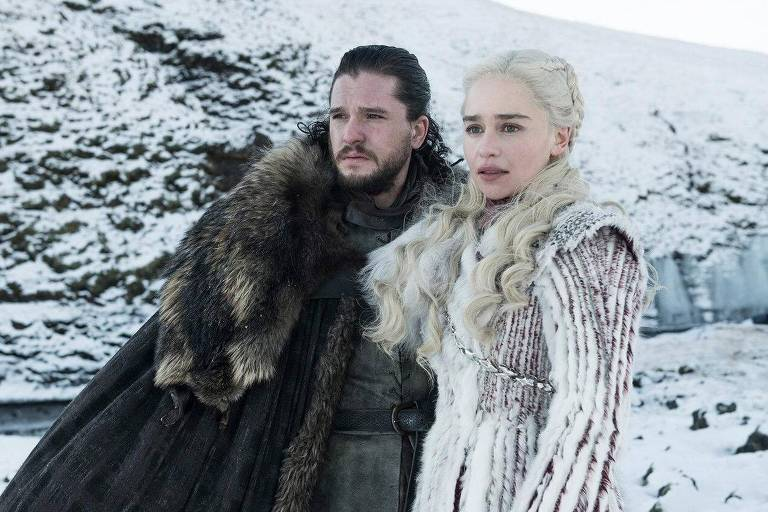 Jon Snow e Daenerys em cena da oitava temporada de 'Game of Thrones'