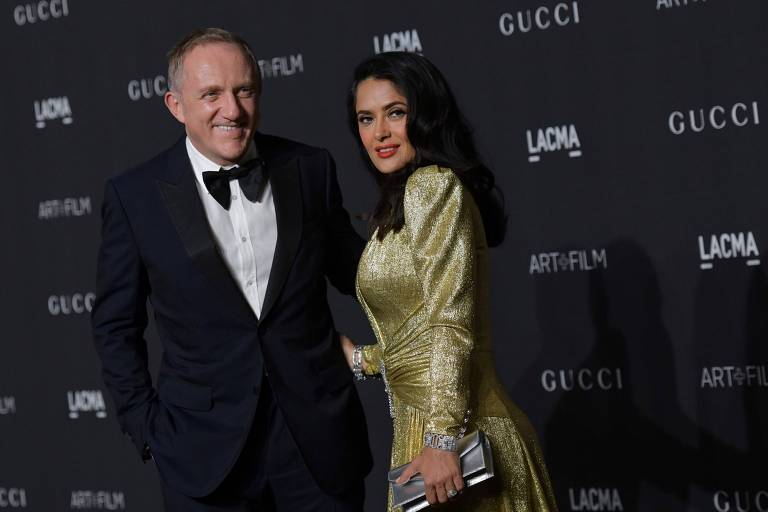 A atriz Salma Hayek com o marido Francois-Henri Pinault