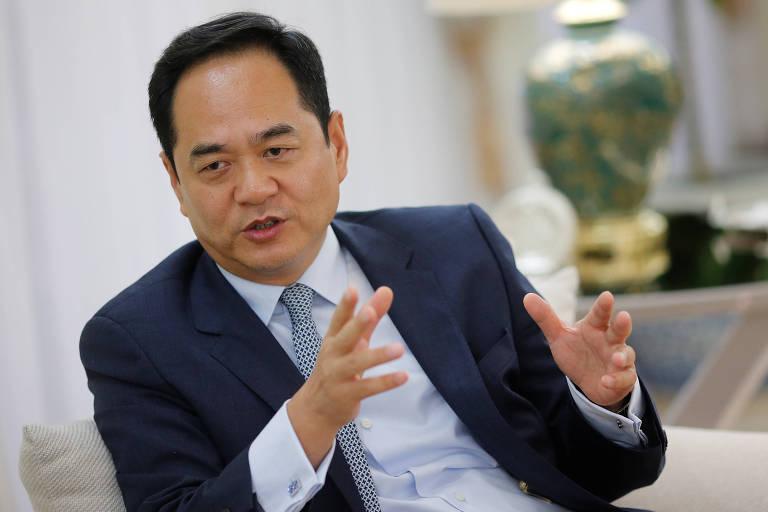 O embaixador da China no Brasil, Yang Wanming, durante entrevista em Brasília