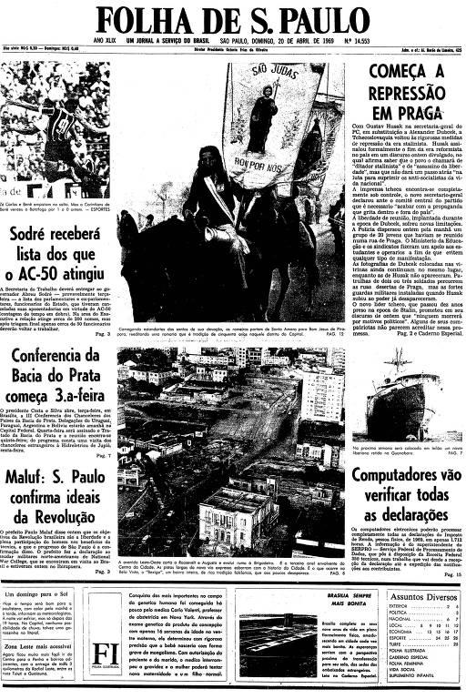 Primeira página da Folha de S.Paulo de 20 de abril de 1969