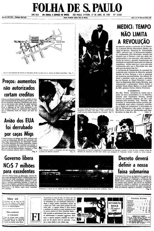 Primeira página da Folha de S.Paulo de 17 de abril de 1969