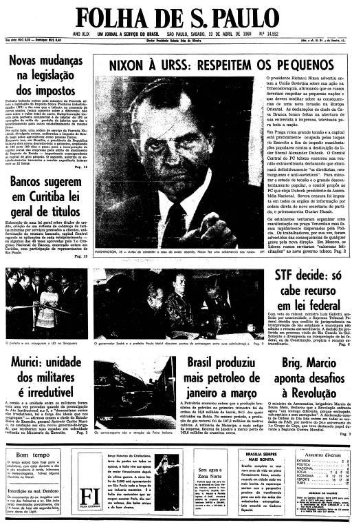 Primeira página da Folha de S.Paulo de 19 de abril de 1969