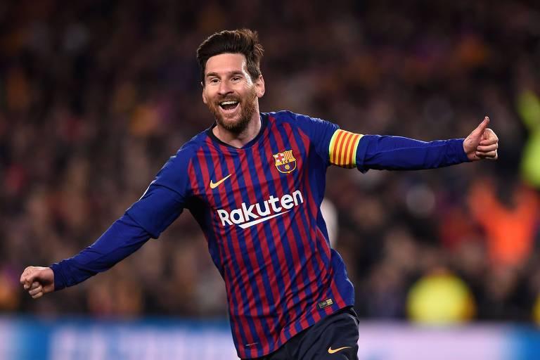 Messi celebra um de seus gols na vitória por 3 a 0 sobre o Manchester United