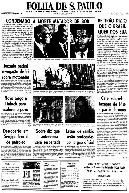 Primeira página da Folha de S.Paulo de 24 de abril de 1969