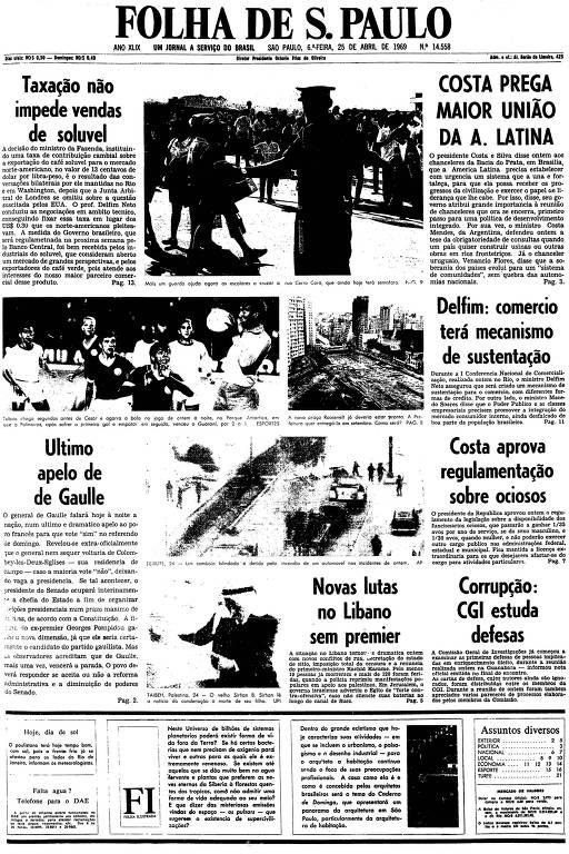 Primeira página da Folha de S.Paulo de 25 de abril de 1969