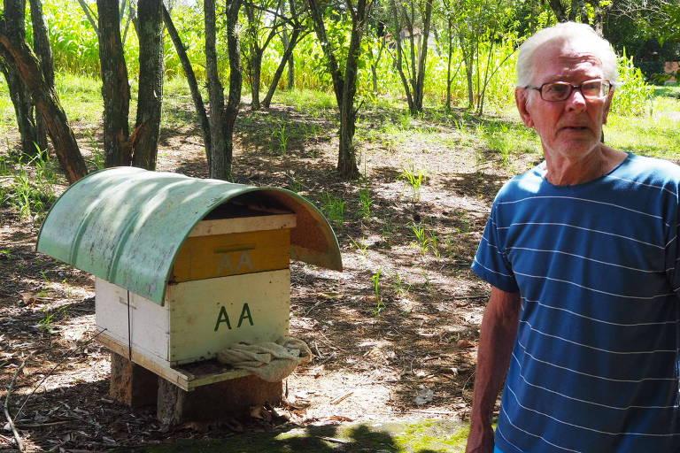 O holandês Willem Van Bellen, 82, com suas abelhas em sua chácara em Santo Antônio do Jardim (SP).