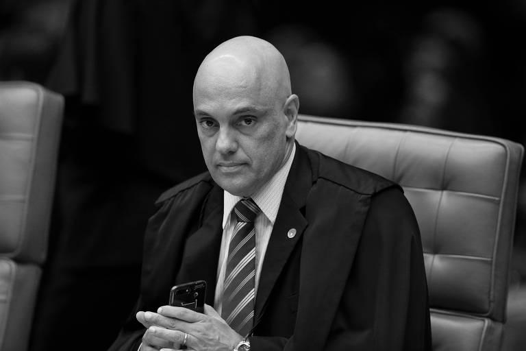 O ministro Alexandre de Moraes durante sessão no Supremo, em março deste ano