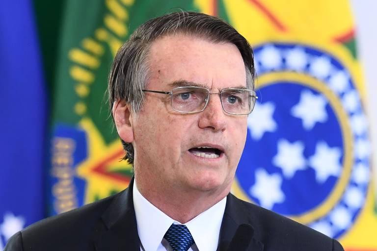 O presidente Jair Bolsonaro em cerimônia que marcou 100 dias de seu governo