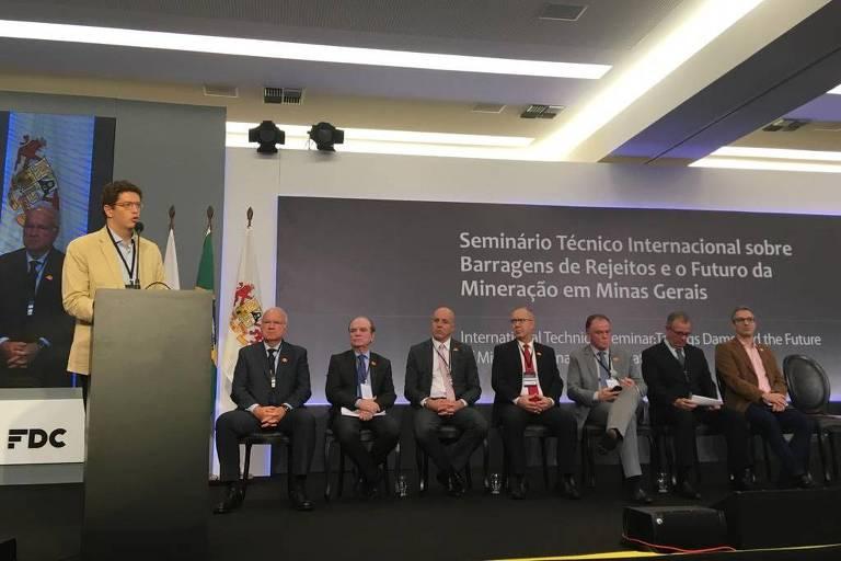 Ricardo Salles, ministro do Meio Ambiente em evento sobre barragens em Minas Gerais