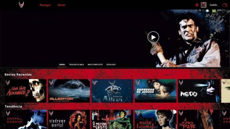 Tela de acesso aos títulos do serviço de streaming da Darkflix, inspirada no layout da Netflix