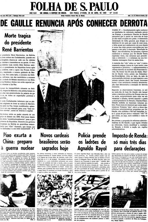 Primeira página da Folha de S.Paulo de 28 de abril de 1969