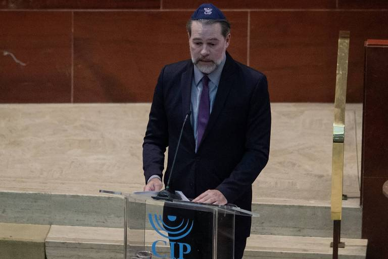 O ministro Dias Toffoli, presidente do STF, durante evento promovido pela Congregação Israelita Paulista, em São Paulo