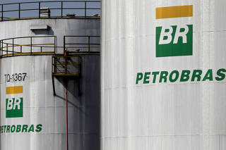 FILE PHOTO: The logo of Brazil's state-run Petrobras oil company is seen on a tank in at Petrobras Paulinia refinery in Paulinia