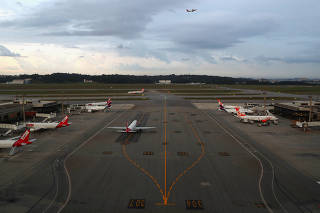 Airplanes are seen at Guarulhos International airport in Guarulhos