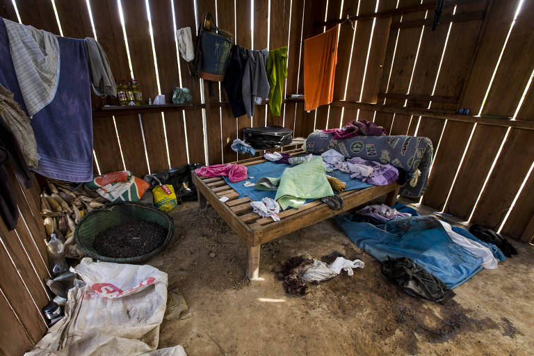 Casa de uma das vítimas da chacina que deixou nove mortos em Taquaruçu do Norte, área rural de Colniza (MT)