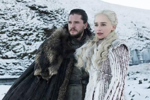 Jon (Kit Harington) e Daenerys (Emilia Clarke) na oitava temporada de 'Game of Thrones'