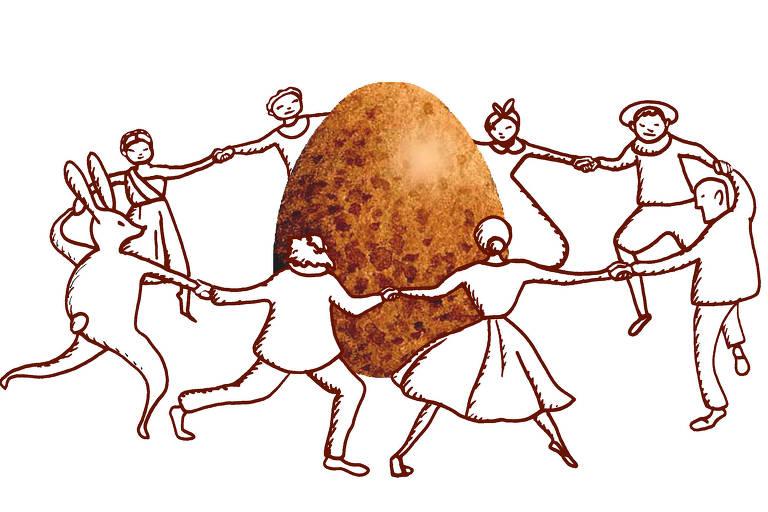 Pessoas desenhadas dançando em volta de um ovo de pascoa