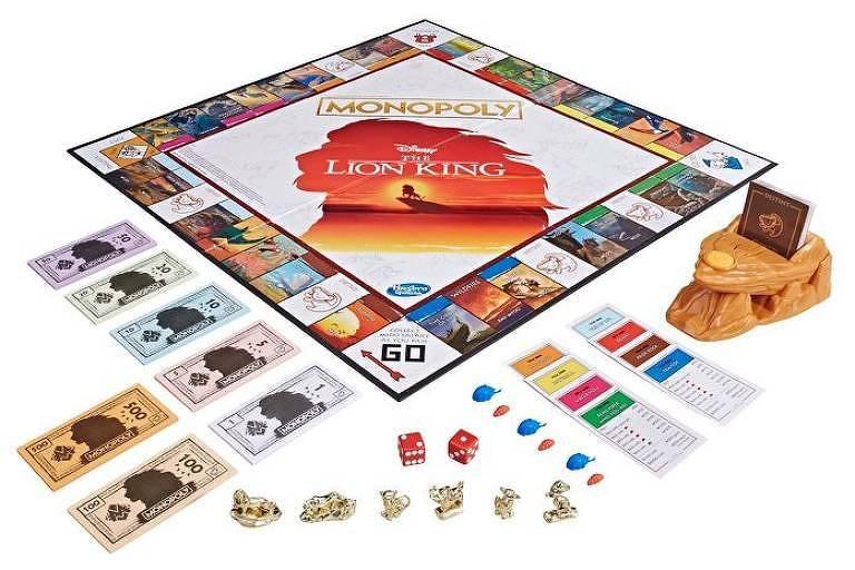 Versão especial do jogo Monopoly, inspirada em 'O Rei Leão'