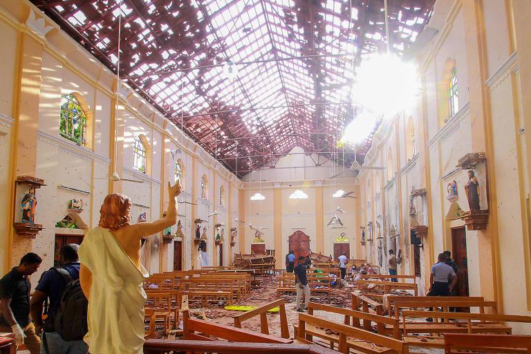 Igreja de São Sebastião na cidade de Negombo, no Sri Lanka, uma das atingidas por explosão