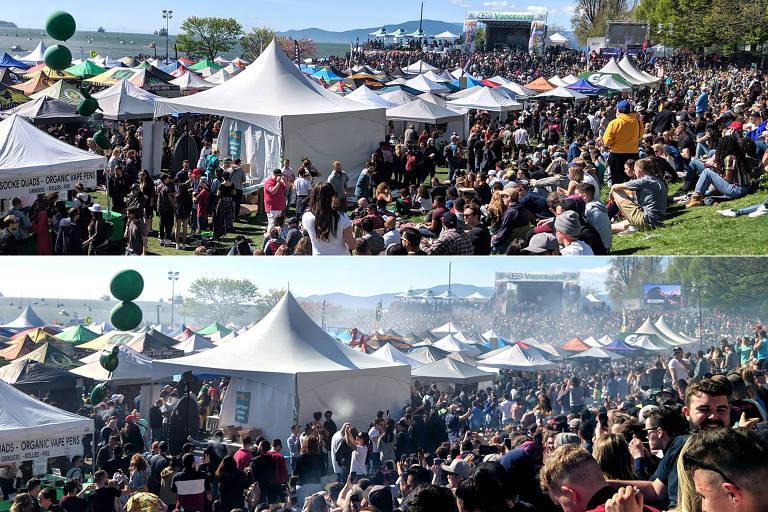 Antes e depois do relógio bater 16h20, quando pessoas acenderam em conjunto seus cigarros de maconha no parque Sunset Beach, Vancouver, Canadá