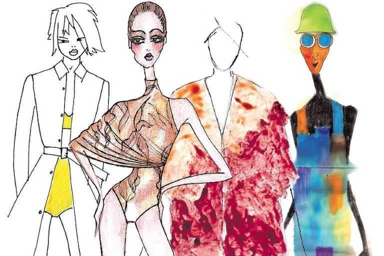 Montagem com croquis de Reinaldo Lourenço, lenny, Flavia Aranha e Ronaldo Fraga para a SPFW47