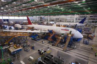 A 787 Dreamliner being built for Air India is pictured at South Carolina Boeing final assembly building in North Charleston