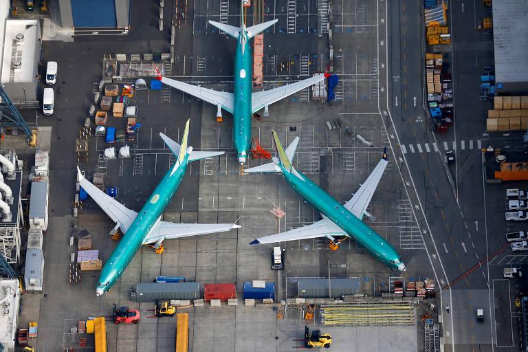 Aeronaves do modelo 737 MAX na fábrica da Boeing em Renton, no estado de Washington
