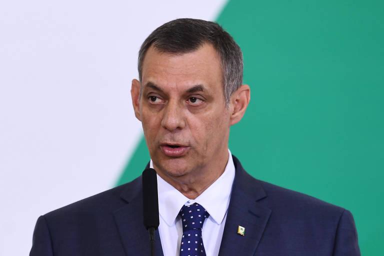 Porta-voz Otávio Rêgo Barros durante cerimônia dos 100 dias do governo Bolsonaro, no Palácio do Planalto