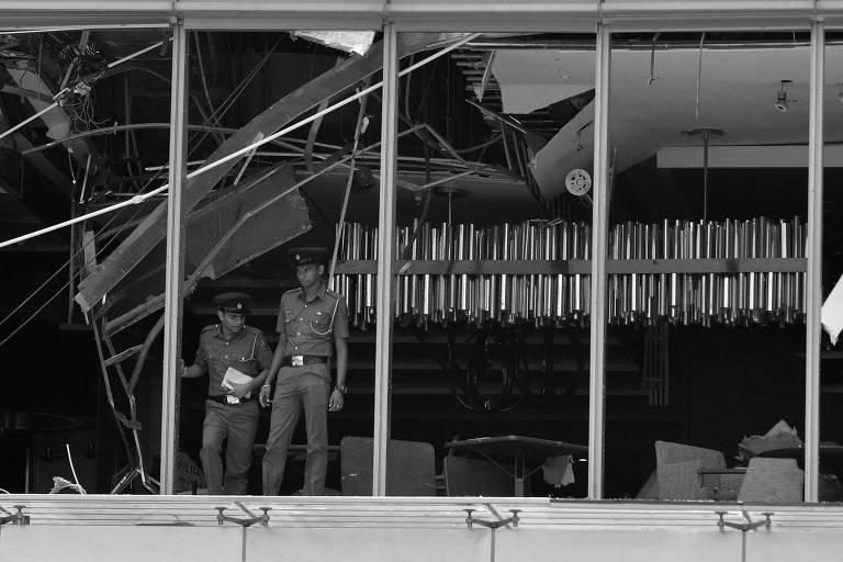 Área de hotel atingida por explosão em Colombo, no Sri Lanka