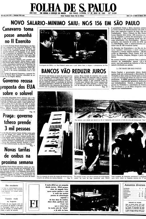 Primeira página da Folha de S.Paulo de 1 de maio de 1969