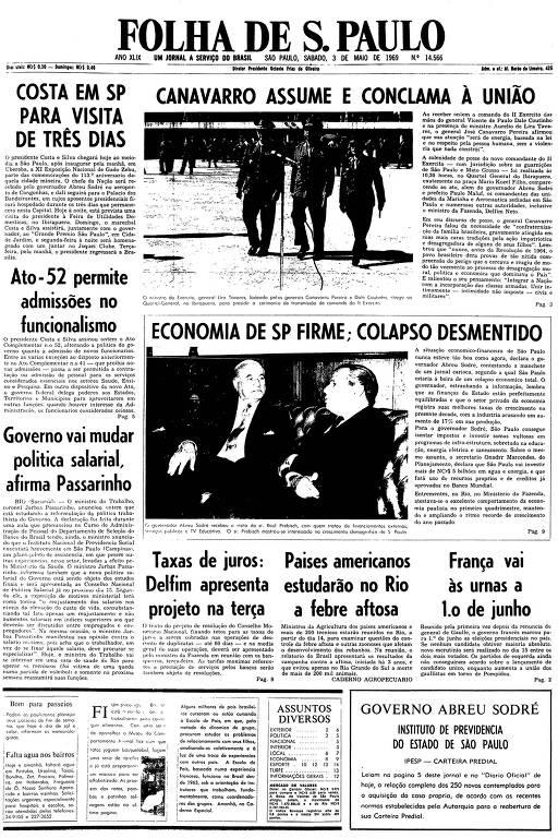 Primeira página da Folha de S.Paulo de 3 de maio de 1969