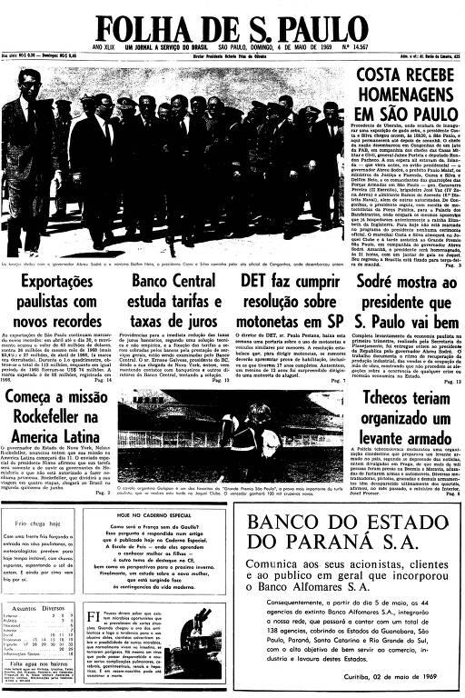 Primeira página da Folha de S.Paulo de 4 de maio de 1969