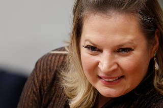 Brazilian Federal Deputy Hasselmann reacts at a meeting of the committees of CCJ in Brasilia