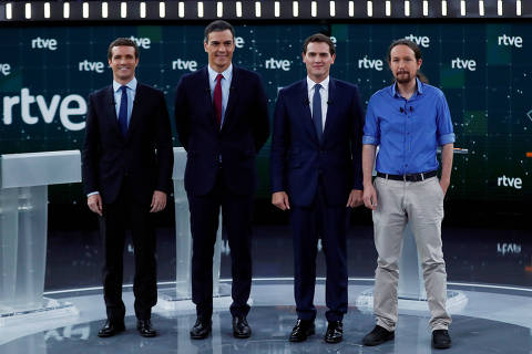 Main candidates for Spanish general elections People's Party (PP) Pablo Casado, Spanish Prime Minister and Socialist Workers' Party (PSOE) Pedro Sanchez, Ciudadanos' Albert Rivera and Unidas Podemos' Pablo Iglesias pose before a televised debate ahead of general elections in Pozuelo de Alarcon, outside Madrid, Spain, April 22, 2019. REUTERS/Sergio Perez ORG XMIT: ESP117