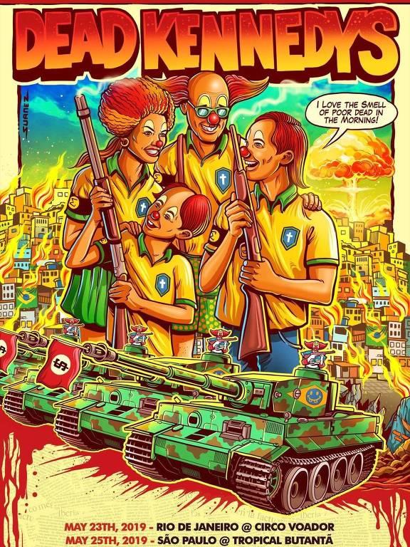 Dead Kennedys divulga pôster de turnê de 40 anos no Brasil; imagem traz palhaço Bozo e sua família em frente a uma favela em chamas