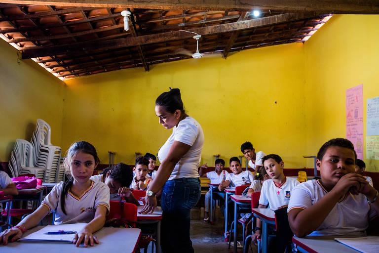 Sala de aula da escola Massilon Saboia, em Sobral; cidade se tornou exemplo e exportou política de alfabetização para todo o Ceará