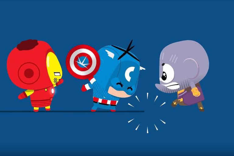 Cascão e Cebolinha Toy derrotam Thanos