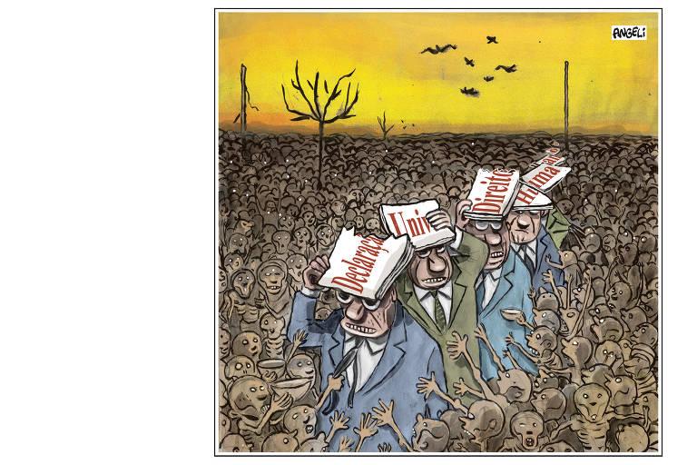 Ilustração do cartunista Angeli para 'Livres e Iguais!', livro que comemora 70 anos da Declaração dos Direitos Humanos
