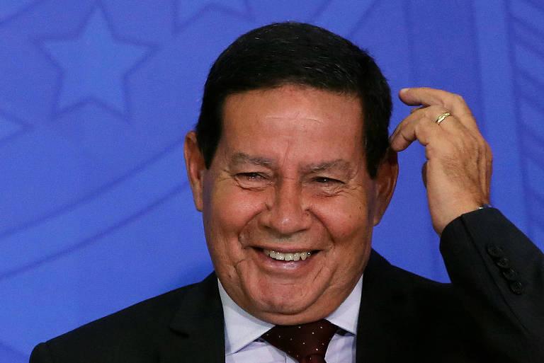 O vice-presidente Hamilton Mourão, durante cerimônia no Palácio do Planalto