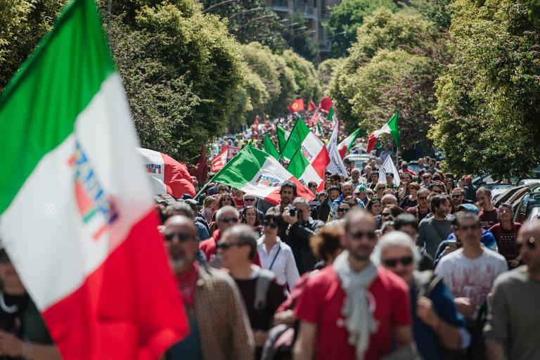 Comemoração da liberação da Itália do nazi-fascismo nas ruas de Roma, em 2017