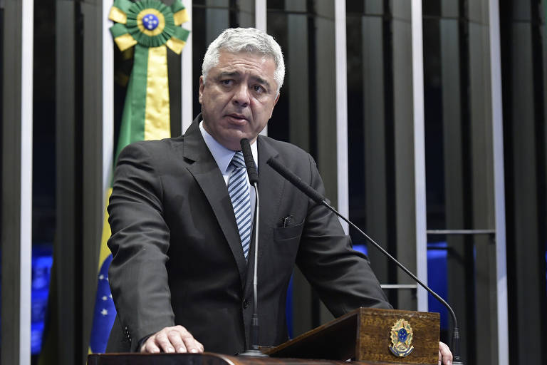 O senador Major Olimpio (PSL-SP), durante discurso na tribuna do Senado