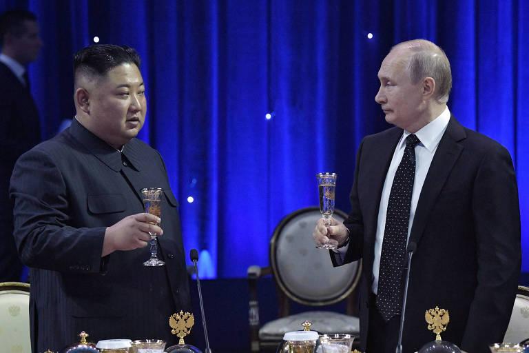 Kim Jong-un e o presidente Vladimir Putin