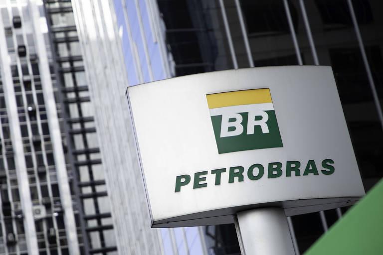 Logo da Petrobras na entrada da empresa em sua sede na avenida Paulista, região central de São Paulo.