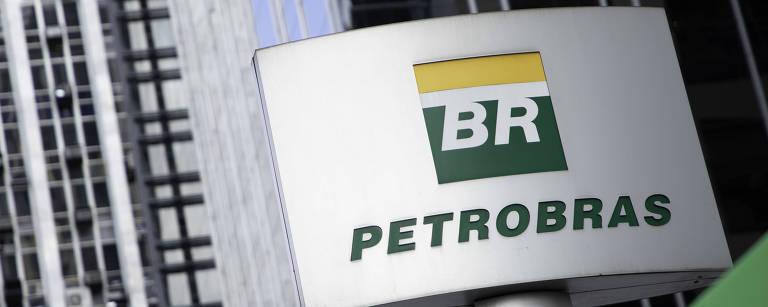 Logo da Petrobras na entrada da empresa em sua sede na avenida Paulista, região central de São Paulo