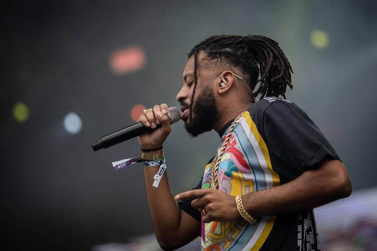 O rapper carioca BK em show no Lollapalooza 2019, no autódromo de Interlagos, em São Paulo