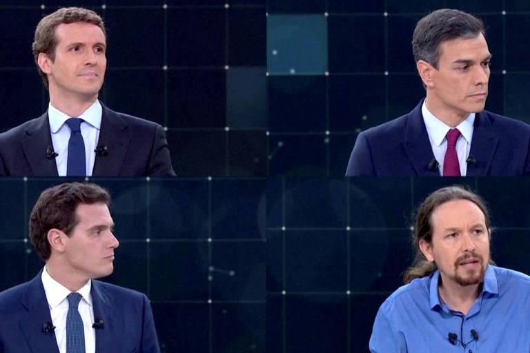 Candidatos da eleição espanhola participam de debate; em sentido horário: Pablo Casado (Partido do Povo), o atual primeiro-ministro, Pedro Sánchez (Partido Socialista Operário Espanhol), Albert Rivera (Cidadãos) e Pablo Iglesias (Podemos)