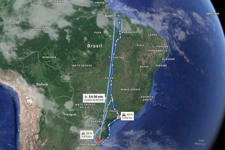Mapa mostra a distância que Remo e Paysandu, de Belém, e São José, de Porto Alegre, terão de viajar para jogos da Série C