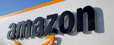 FILE PHOTO: The logo of Amazon is seen at the company logistics centre in Boves, France, August 8, 2018. REUTERS/Pascal Rossignol/File Photo ORG XMIT: FW1
