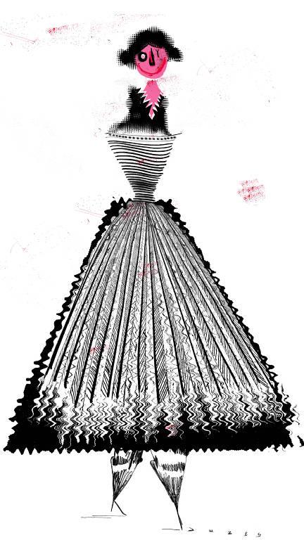 mulher-hiena de vestido longo