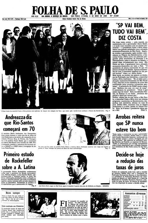 Primeira página da Folha de S.Paulo de 6 de maio de 1969